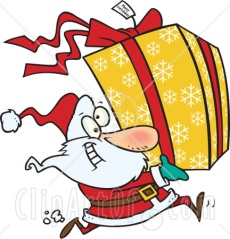 ustration-Of-Santa-Claus-Running-To-Deliver-A-Large-Christmas-Present-Gift-Wrapped-In-A-Red-Bow-Ribbon-And-Yellow-Paper-With-A-White-Snowflake-Pattern