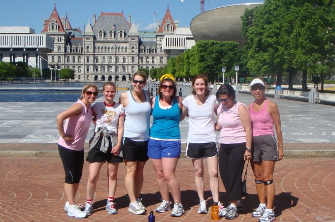 Janis, Jen, Bridget, Jen, Felice, Lisa & me after the run