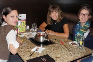 Amanda, me & Hannah enjoying our chocolate fondue desset