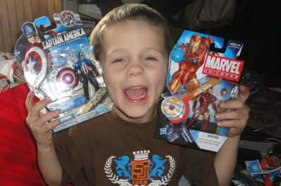 He loves those super heroes