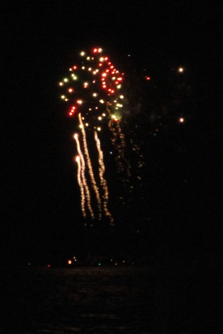 view of the fireworks from our marina