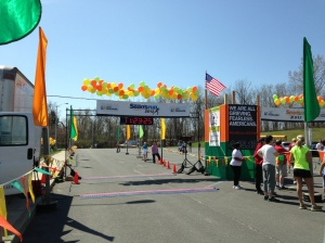 the finish line (to the left of the start)