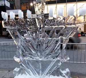 ice menorah on the last night of Chanukah in NYC
