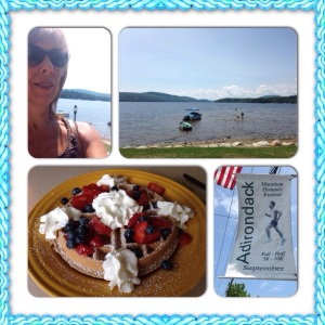 post-run walking  in Schroon Lake