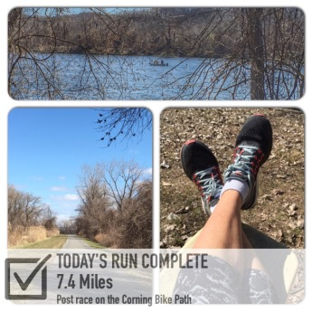 5k race + 7.4 = 10.5 miles